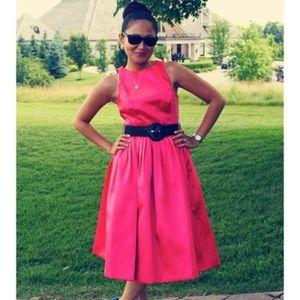 Isaac mizrahi party dress pink pleated waist 4